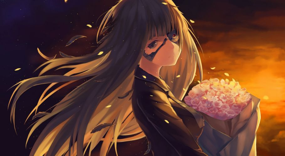 bazooka oiran flowers long hair original sunset techgirl wallpaper