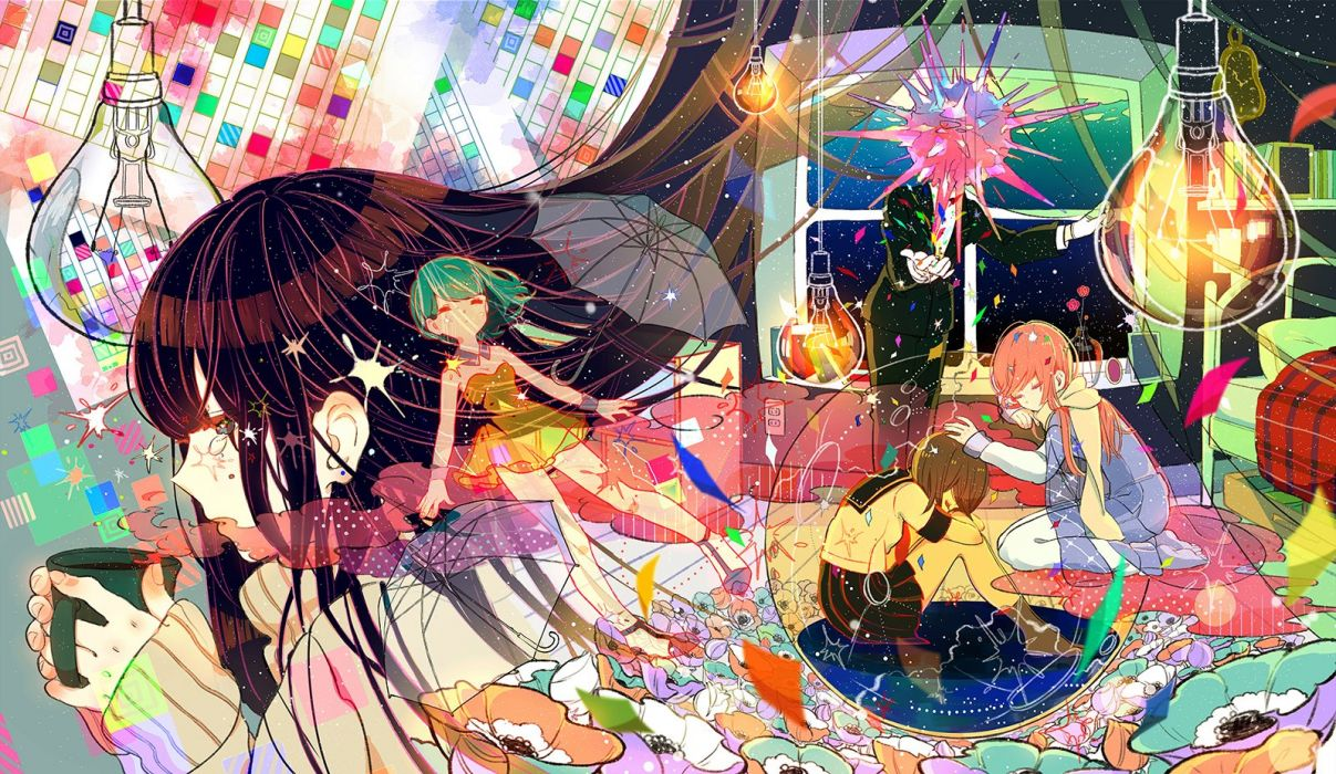 bed book drink flowers original seifuku sumomo (woooooxoxo) umbrella wallpaper