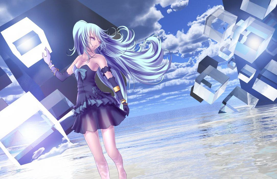 blue hair clouds elbow gloves hatsune miku long hair purple eyes skirt sky vocaloid water yusuke wallpaper