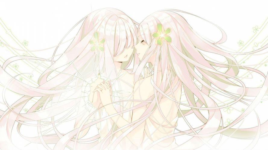 flowers headdress long hair original polychromatic sakuragi ren summer dress white wallpaper