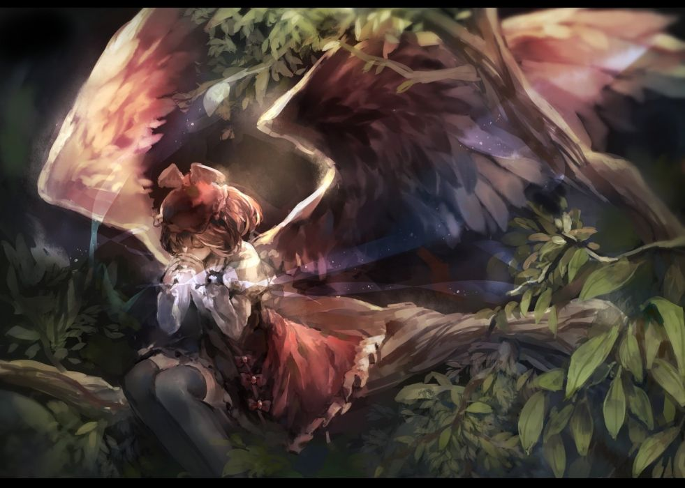hat leaves mystia lorelei nazoko thighhighs touhou tree wings wallpaper