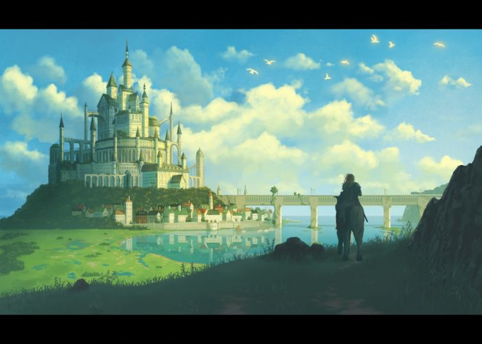 animal armor bird blonde hair cape city clouds grass horse long hair nauimusuka original scenic shade sky sword water weapon wallpaper