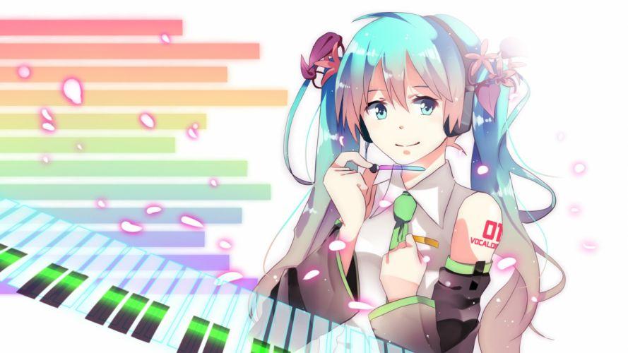 aqua eyes aqua hair hatsune miku headphones instrument long hair piano tie twintails vocaloid wallpaper