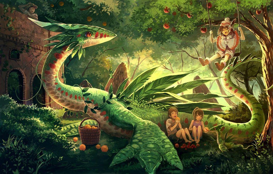 Barefoot Building Dragon Eikura Matti Forest Fruit Grass Hat Long Hair Male Orange Eyes