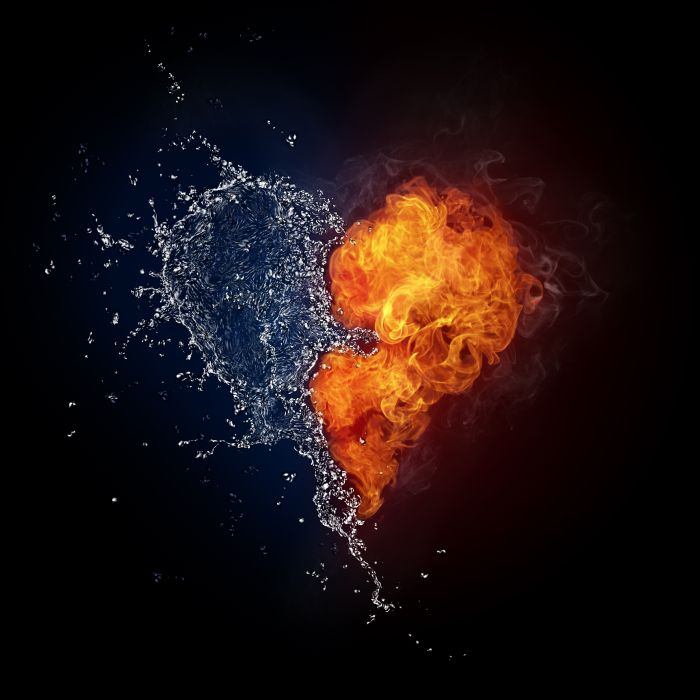 Arts heart flame fire spray water liquid form drops smoke wallpaper