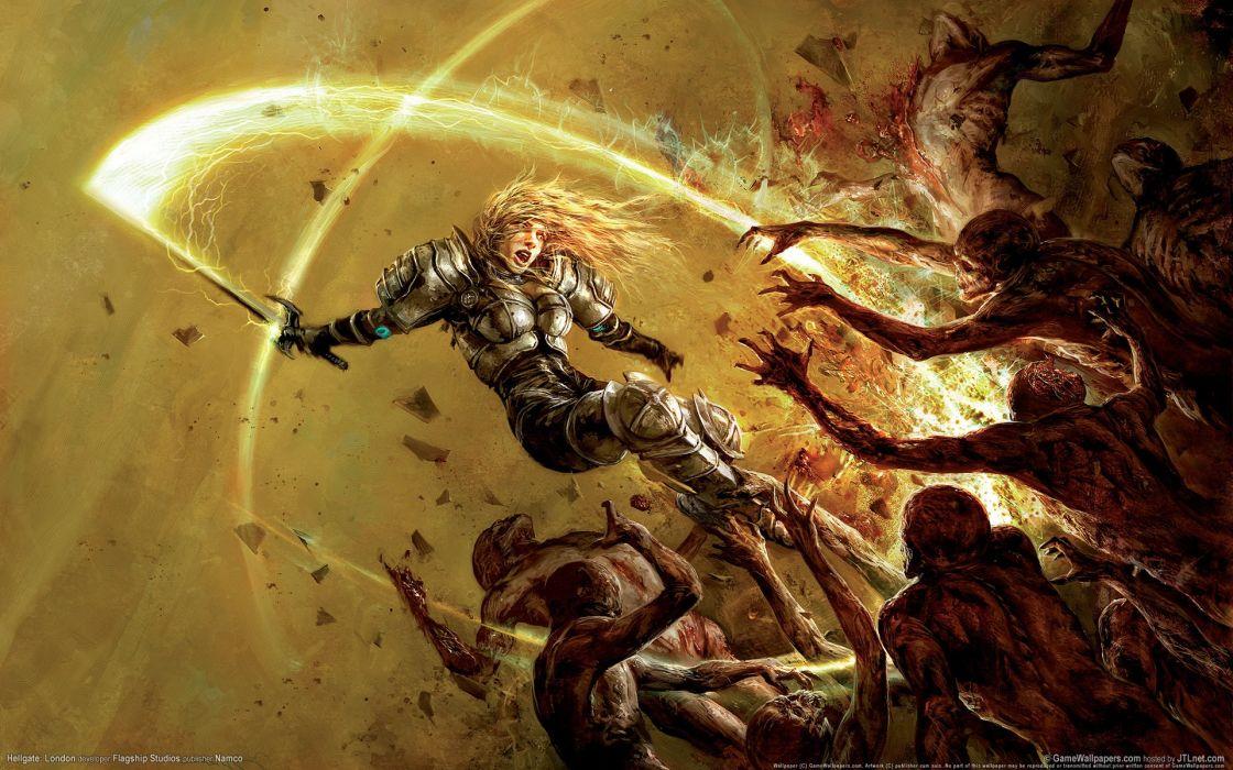 Arts monsters sword hellgate london blood warrior armor girls wallpaper