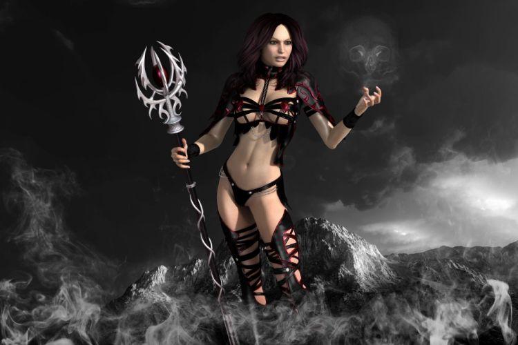 ARTS warrior magic mountains smoke staff skull the witch girls wallpaper