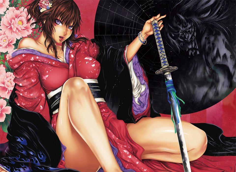 Arts yatagarasu peonies kimono sword katana flowers warrior wallpaper