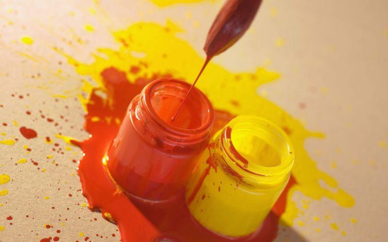 Styles brush blots capacity paint orange yellow wallpaper