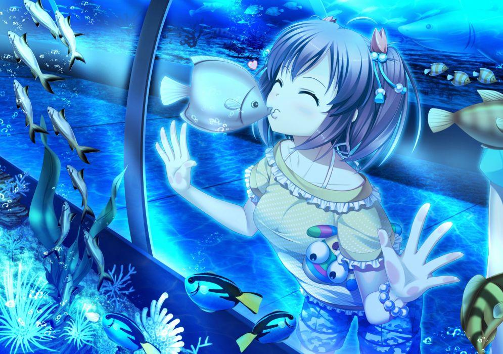 animal bubbles fish heart kiss original polychromatic shorts twintails underwater water wristwear wallpaper
