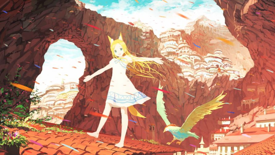 animal animal ears barefoot bird blonde hair dress jumpei99 landscape long hair original scenic tail wallpaper