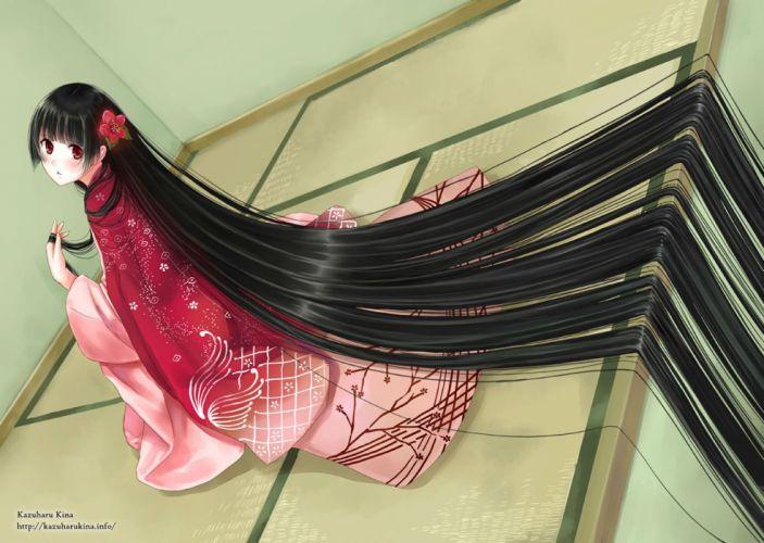 black hair blush flowers japanese clothes kazuharu kina kimono long hair red eyes watermark wallpaper