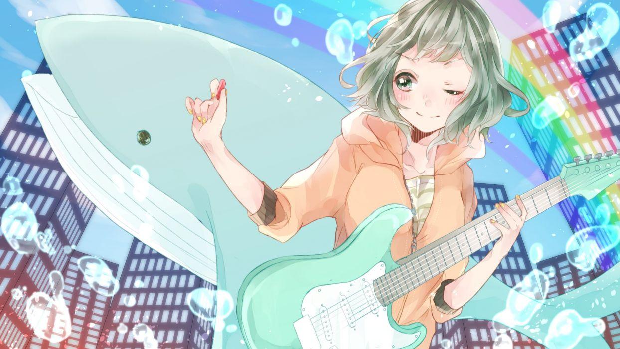 Vocaloid GUMI Striped Shirt Bubble Water Bubbles guitar wallpaper