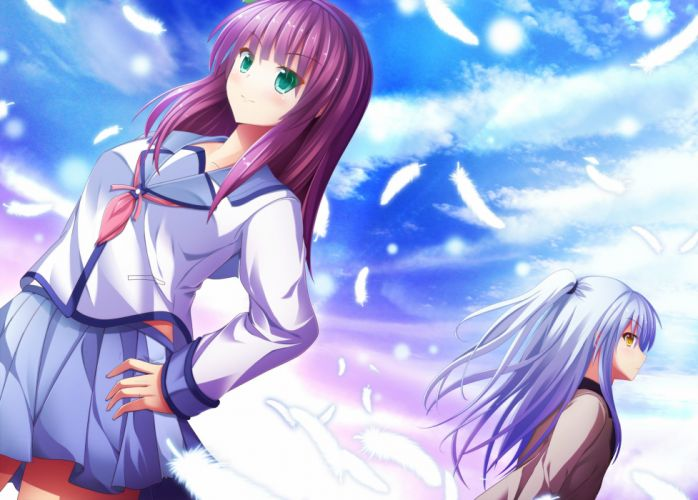 Angel Beats Tachibana Kanade Nakamura Yuri Feather Hand on Hip wallpaper
