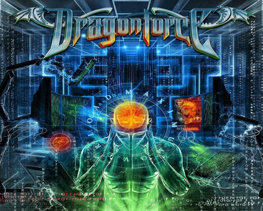 DRAGONFORCE speed power metal heavy progressive poster sci-fi brain psychedelic artwork wallpaper