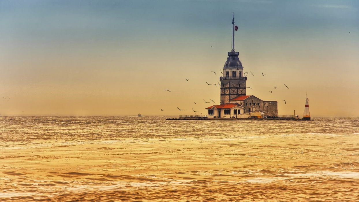 Maiden's Tower Istanbul Turkey city sea Seagull sunset beautiful wallpaper
