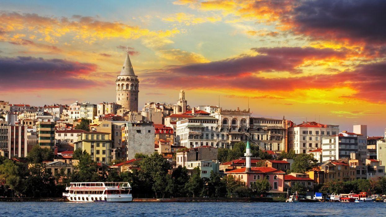 sea marmara istanbul buildings city turkey galata tower wallpaper