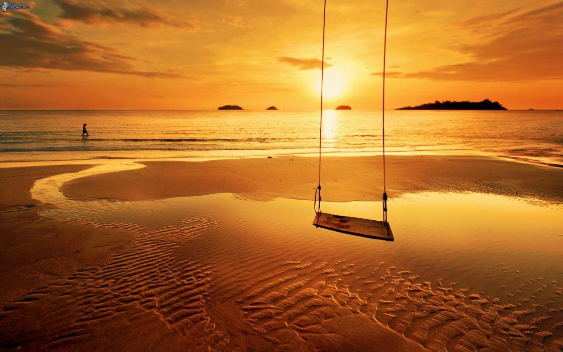 swing sunset sea sandy beach orange beauty sky wallpaper
