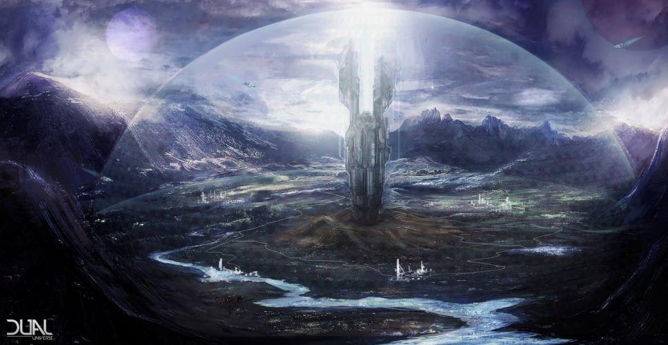 DUAL UNIVERSE sci-fi mmo online futuristic artwork 1dualu sandbox rpg spaceship adventure poster space wallpaper