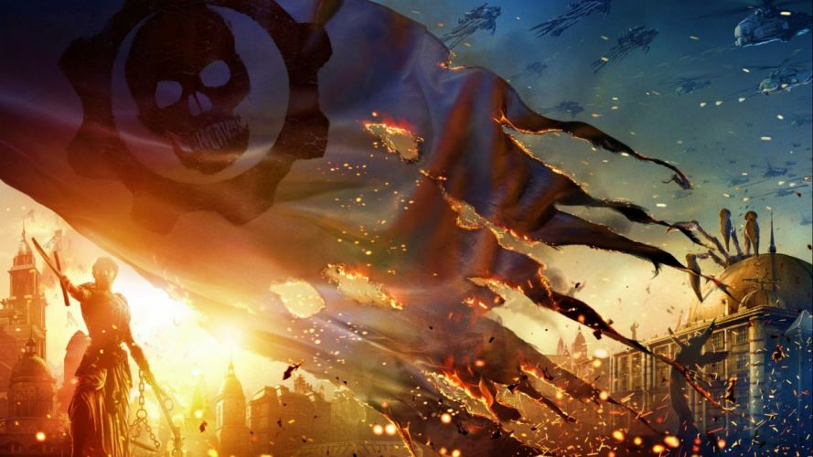 GEARS Of WAR fighting action military shooter strategy 1gw warrior sci-fi futuristic armor war battle poster skull wallpaper
