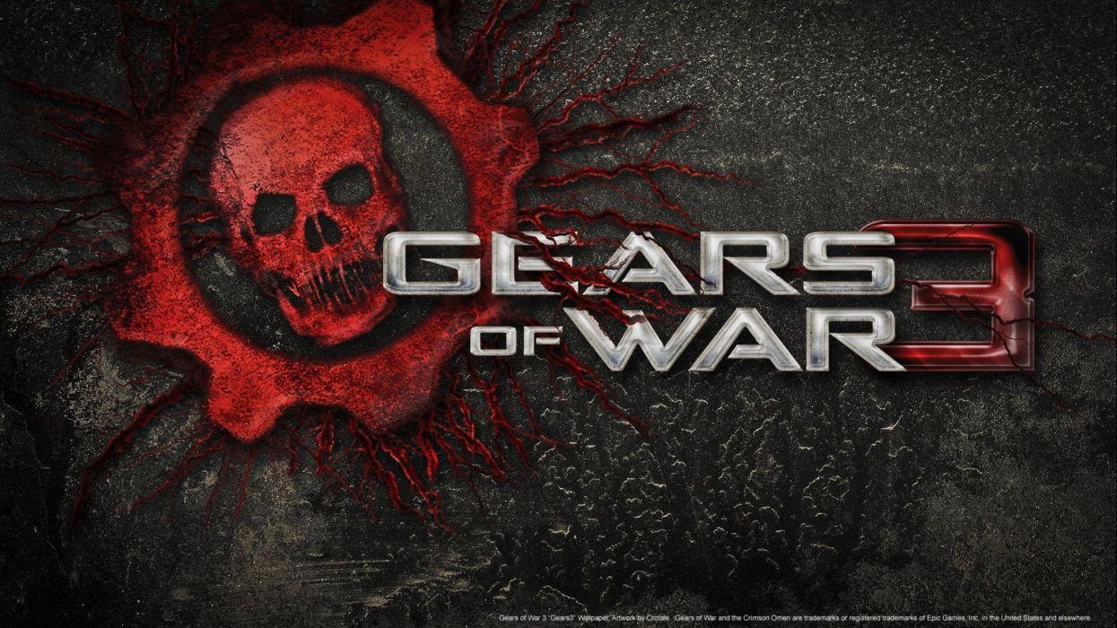 GEARS Of WAR fighting action military shooter strategy 1gw warrior sci-fi futuristic armor war battle poster dark skull wallpaper