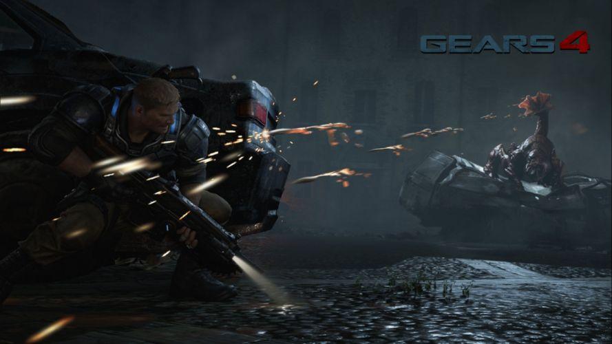 GEARS Of WAR fighting action military shooter strategy 1gw warrior sci-fi futuristic armor war battle poster dark blood wallpaper
