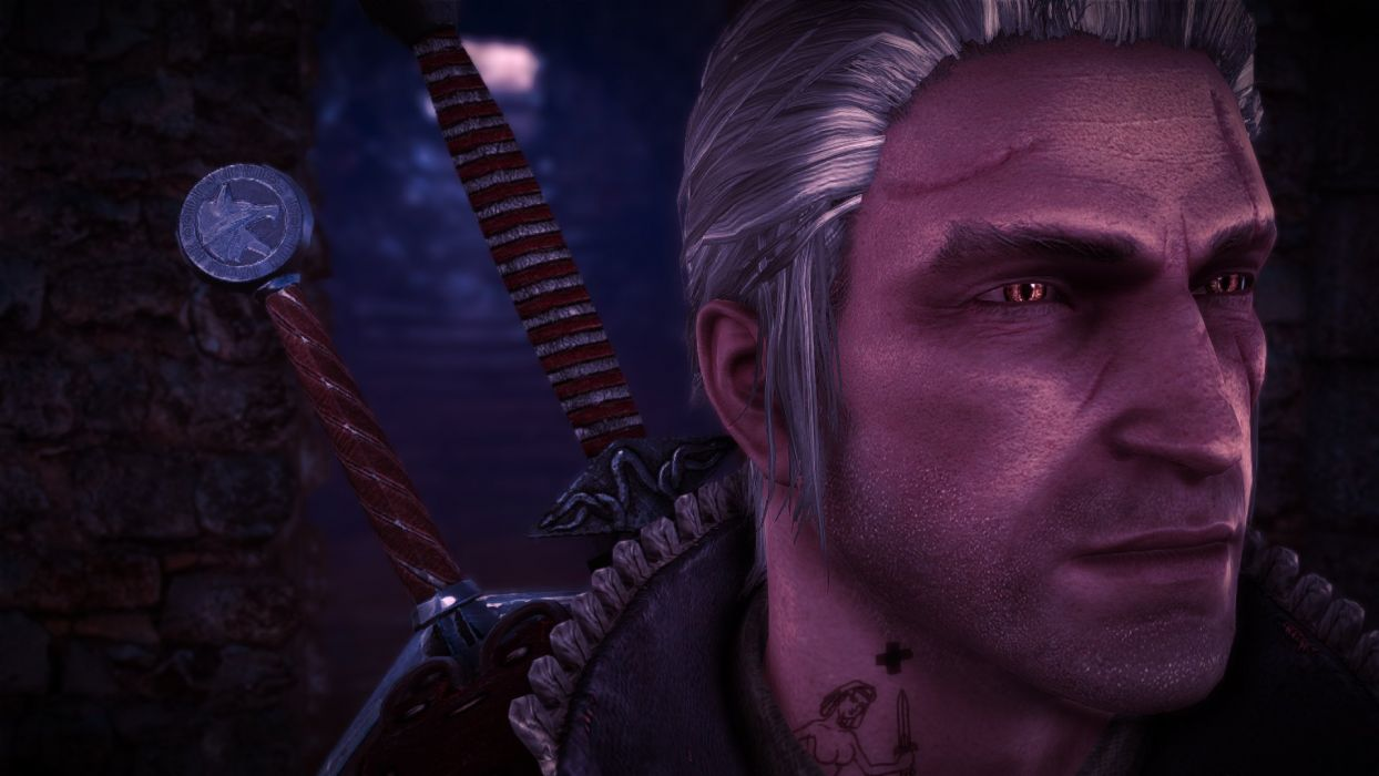 The Witcher 2 Assassins of Kings Geralt Swords Tattoo Blue Stipes Ruins wallpaper