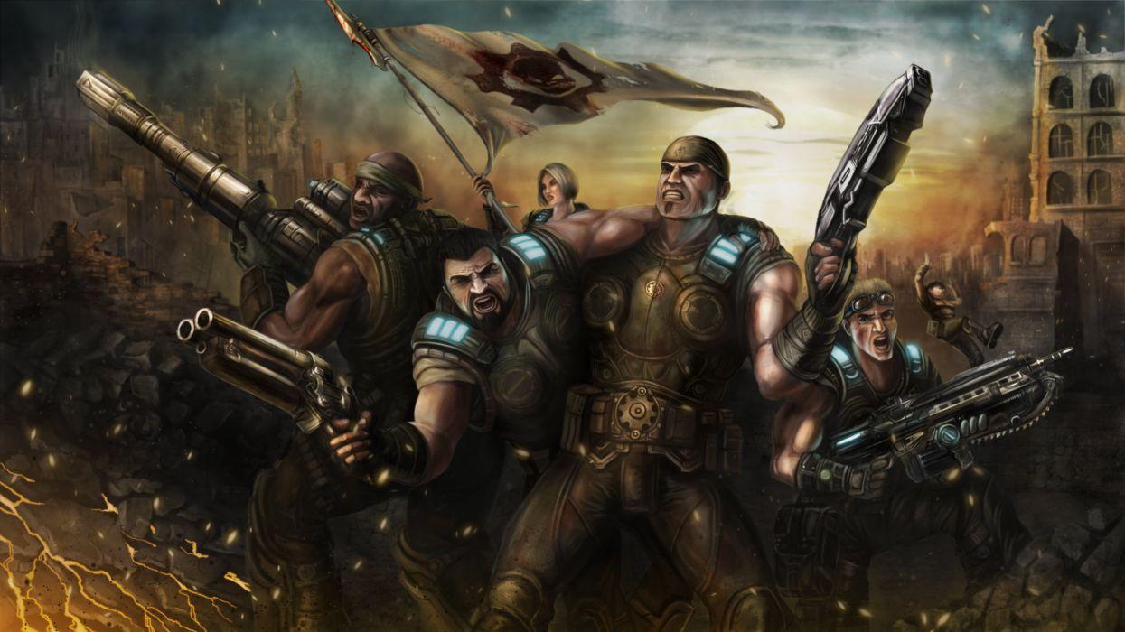 GEARS Of WAR fighting action military shooter strategy 1gw warrior sci-fi futuristic armor war battle wallpaper