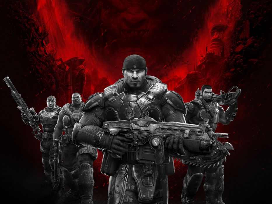 GEARS Of WAR fighting action military shooter strategy 1gw warrior sci-fi futuristic armor war battle wallpaper