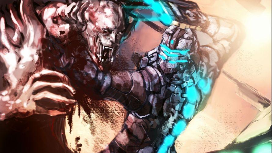 DEAD SPACE sci-fi shooter action futuristic 1deads warrior cyborg robot alien aliens artwork deadspace fighting wallpaper