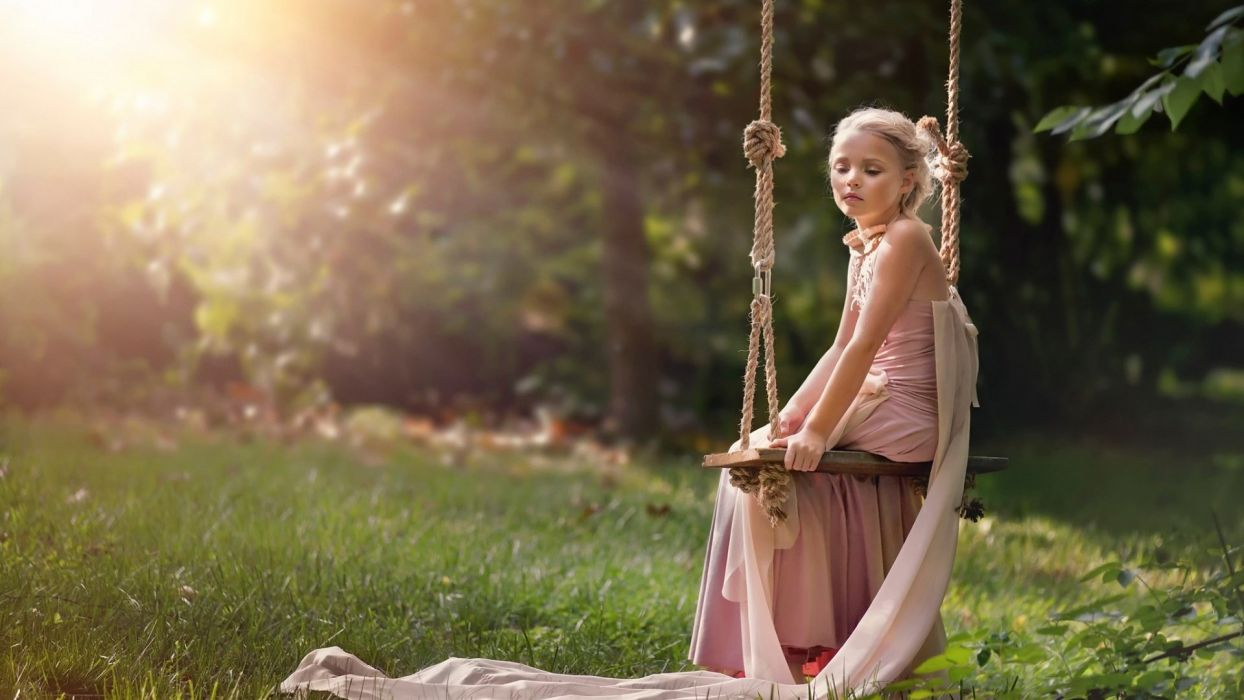 pink dress girl cute children beauty tree wallpaper