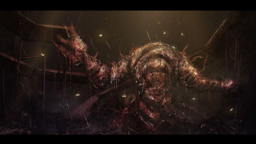 DEMONS SOULS Demonzu Souru fantasy action rpg dark action fighting demon artwork 1dsouls demonssouls evil magic monster creature wallpaper