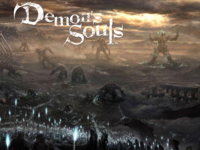 DEMONS SOULS Demonzu Souru fantasy action rpg dark action fighting demon artwork 1dsouls demonssouls evil magic poster wallpaper