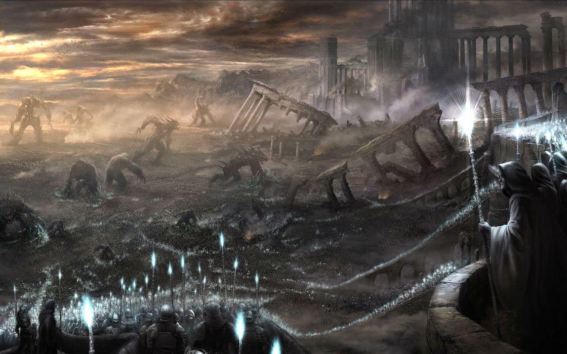 DEMONS SOULS Demonzu Souru fantasy action rpg dark action fighting demon artwork 1dsouls demonssouls evil magic wallpaper