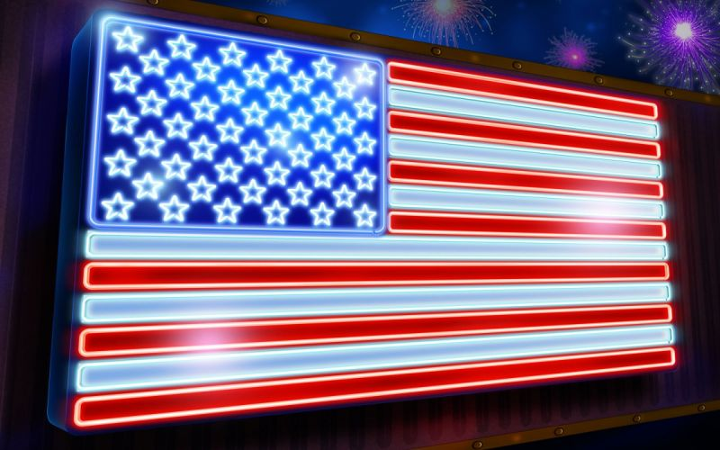 4TH JULY Independence Day usa america united states holiday flag neon sign fireworks wallpaper