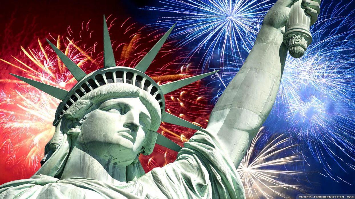 4TH JULY Independence Day usa america united states holiday flag poster fireworks statue liberty wallpaper