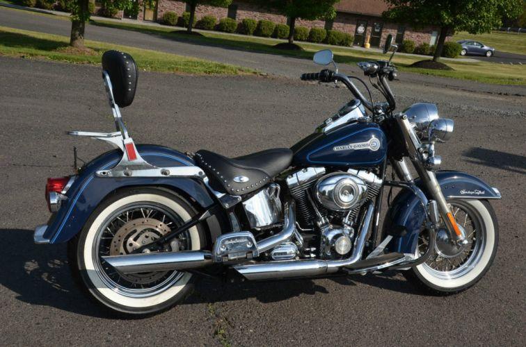 2007 Blue Harley Davidson Heritage Softail Classic FLSTC bike motorbike motorcycle g wallpaper