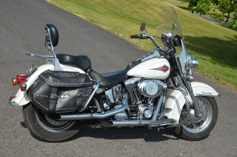 2001 White Harley Davidson Heritage Softail Classic bike motorbike motorcycle g wallpaper