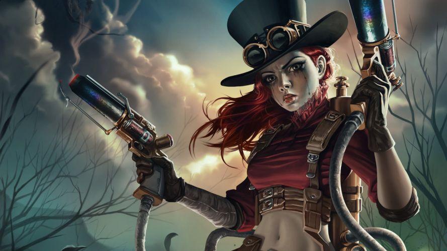 weapon fantasy girl red hair wallpaper