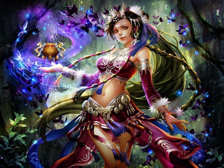 fantasy girl dress butterfly forest magic beautiful wallpaper