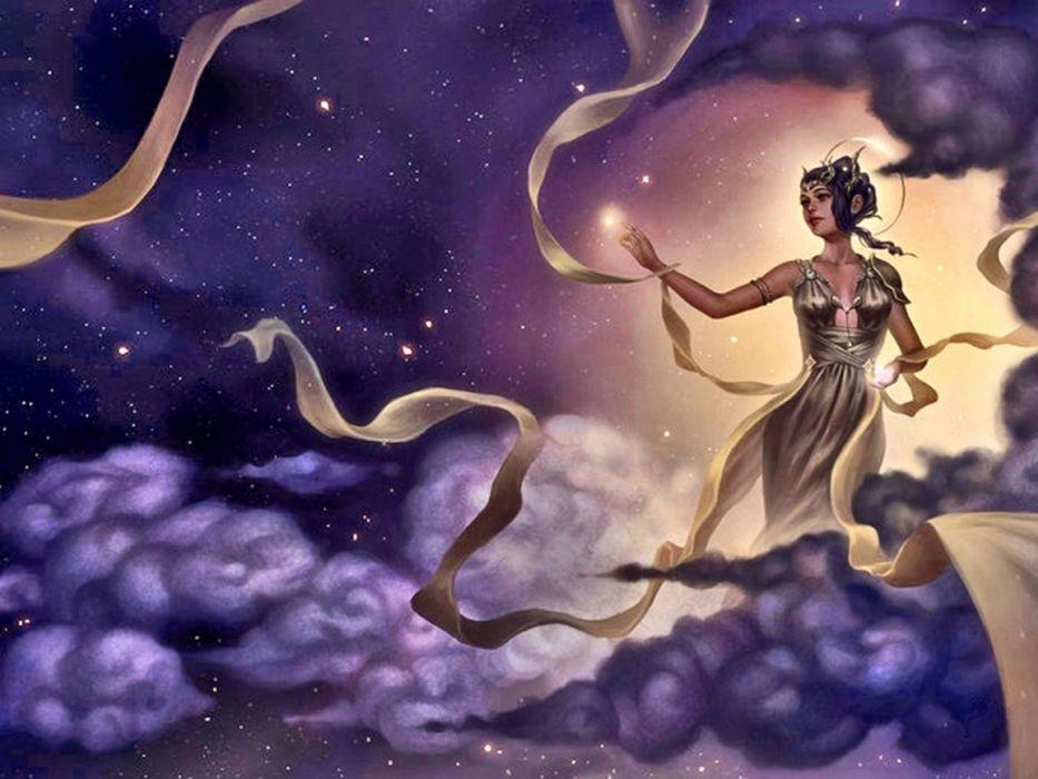 sky fantasy girl dress beautiful wallpaper