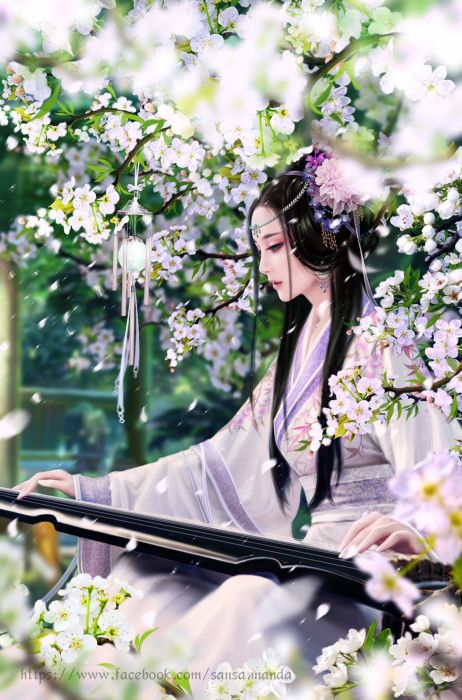 fantasy girl flower beautiful wallpaper