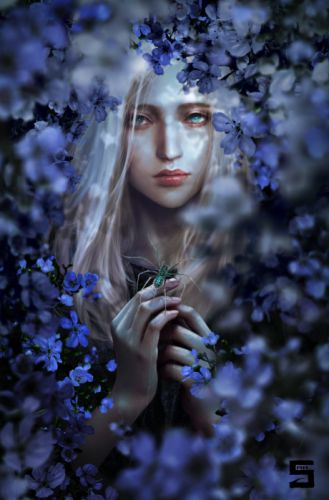 fantasy girl flower spider wallpaper