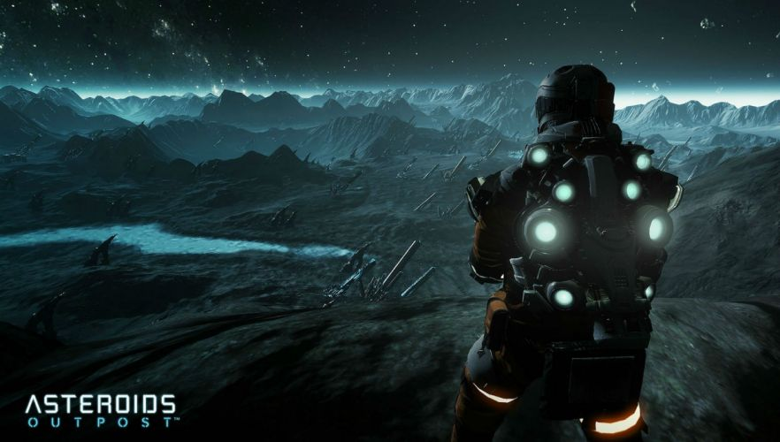 ASTEROIDS OUTPOST sci-fi shooter fps survival sandbox futuristic atari exploration strategy 1aout space artwork poster wallpaper