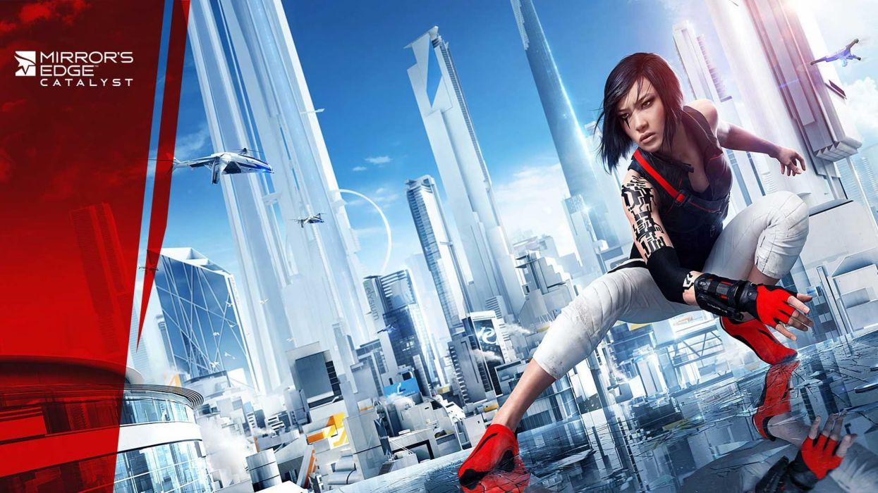 MIRRORS EDGE CATALYST action adventure platform sci-fi futuristic city cities fighting 1mecat warrior girl artwork wallpaper