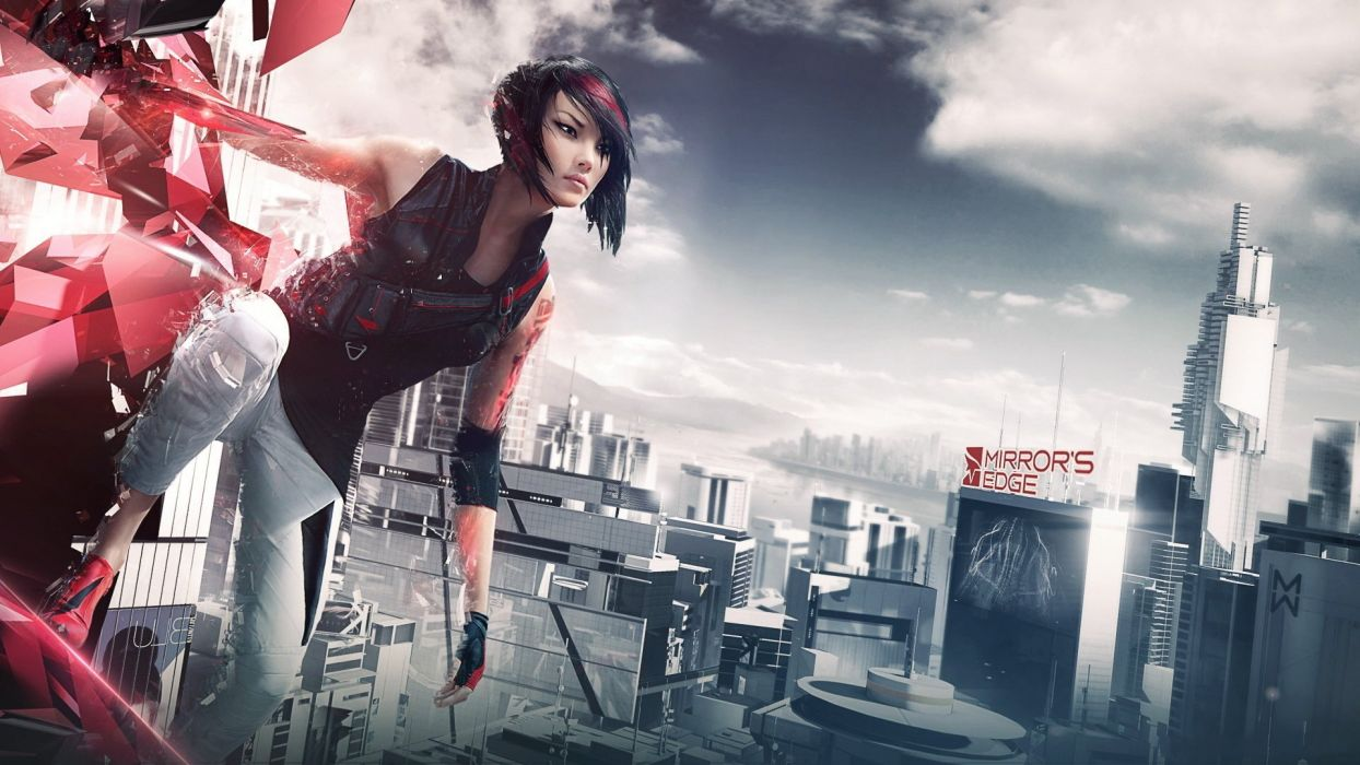 MIRRORS EDGE CATALYST action adventure platform sci-fi futuristic city cities fighting 1mecat warrior girl artwork wallpaper