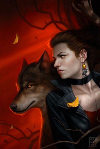 wolf fantasy portrait beautiful girl face wallpaper
