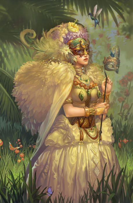fantasy dress long hair beautiful girl face mask wings magic wallpaper
