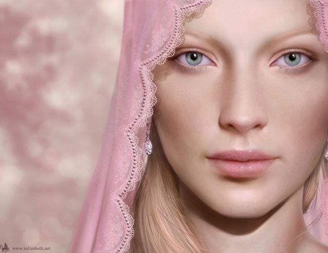 fantasy dress long hair beautiful girl face portrait wallpaper
