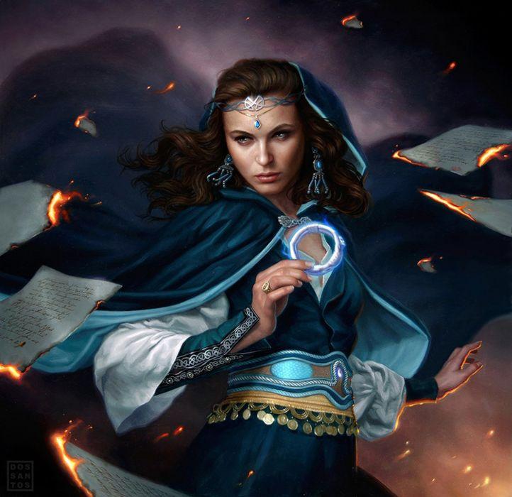 wizard fantasy dress long hair beautiful girl face magic wallpaper